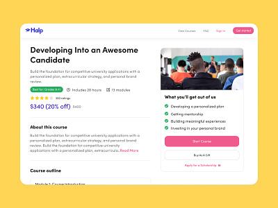 Course Detail ux ui design web app education app course app learning platform education course