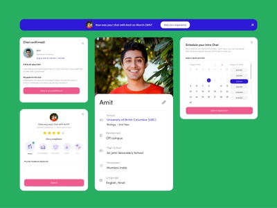 UI elements for a personal university counsel web app modal chat schedule app banner education website web app design uiux ui education education app