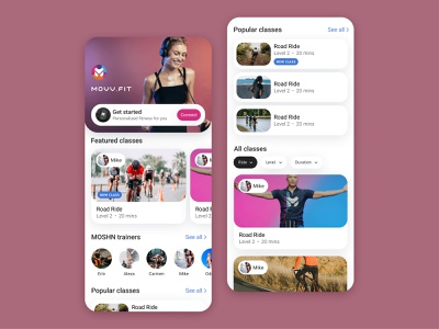 Livestream fitness mobile app ux ui spinning cycle coaches trainers design uidesign mobile ui mobile design mobile app livestream fitness app
