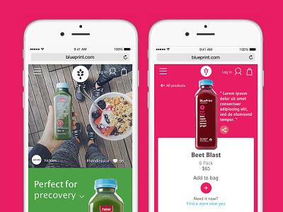 Blueprint Juice E-commerce Redesign wellness healthy fruits organic instagram website digital mobile ecommerce redesign juice blueprint