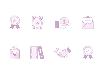 Icon Set Creation handshake map money books envelope reward icon illustration design