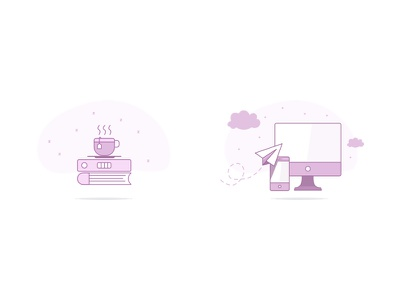 Product Feature Illustrations clouds computer macbook paper airplane iphone book coffee icon illustration design