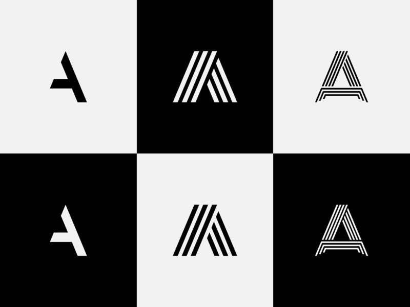 "Letter ""A"" flat design type minimal identity branding icon app icon logo alphabet logo design logotype logo"