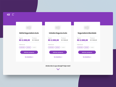 Car Insurance - Price page web interface iq purple desktop cards price ux ui plans results car insurance