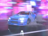 Drift on Neon Street. Nissan Skyline GTR R34.