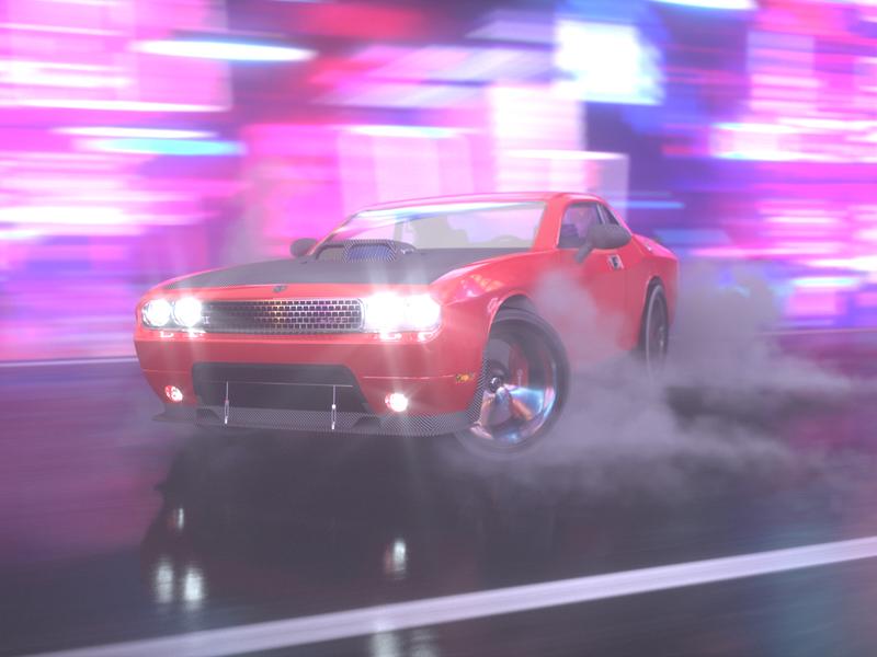 Drift on Neon Street. Dodge Challenger SRT. motion blur neon night cars cinema 4d octane render c4d drift