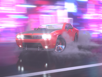 Drift on Neon Street. Dodge Challenger SRT.