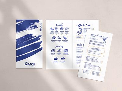 CRAVE Menu pasrtyshop logo cafe logo pastry croissant caffe identity blue ink design illustration ink drawing branding caffe menu caffè menudesign ink icons ink illustration ink