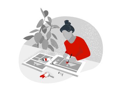 Design red and gray paints design tools design illustration illustration