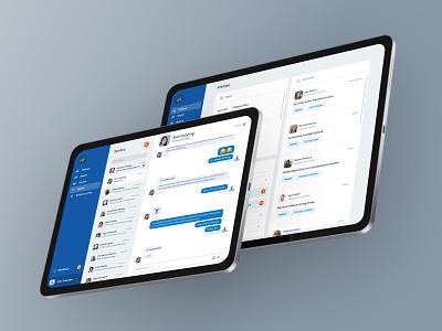 Messages Conversation ipad blue messages light design ux app ui