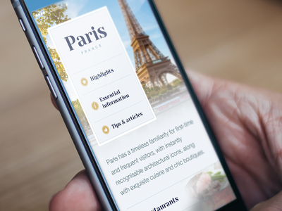 Tourist Guide Paris (WIP) iphone app ui user interface menu typography guide design clean photo icon