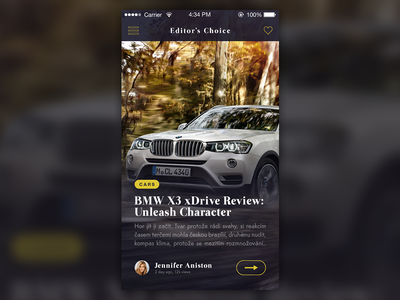 Blog/Magazine App ios app layout dark iphone blog news animation gif car typography bmw
