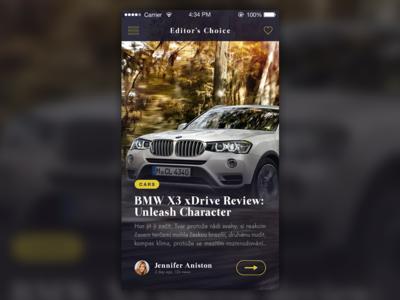Blog/Magazine App ios app layout dark iphone blog news animation gif car typography bmw