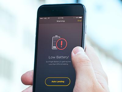 Drone Flight App - low battery screen layout design ui dark error warning app ios iphone mobile