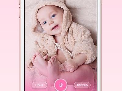 Baby Monitor layout screen iphone bottom menu ios sitting baby clean light design ui