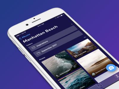 Photo App ux ui albums dark interface ios iphone design app