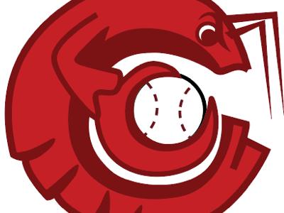 Crawdad Baseball monochrome baseball character design logo