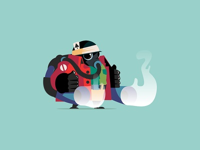 Duster concept vector graphic fire dust gas illustrator illustration design character