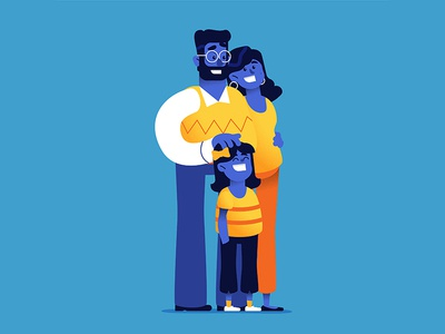 Happy Family vector people cartoon happy daughter mom dad graphic design illustrator illustration character family