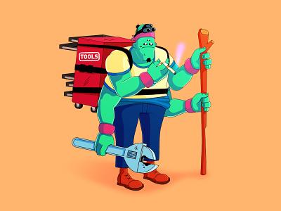 Garreth cartoon illustrator vector graphic alien animation illustration design character