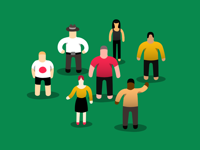 Etnographic Research group uxchecklist crowd woman man people green illustration research