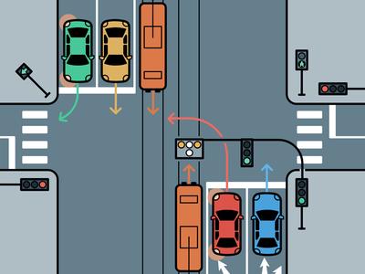 Crossroads grey street moto infographics arrows traffic blue learn crossroad car road illustration