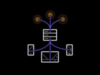 Handling Data map maps cloud storage technical responsive phone data vector icon illustration