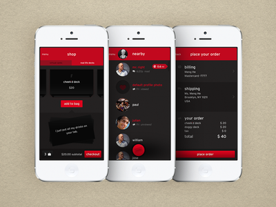 Cheek'd Mobile App app ios iphone mobile feed skeuomorphic cards checkout shopping shark tank