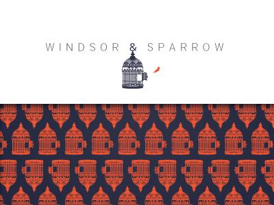 Windsor & Sparrow Identity Design brand identity logo cage bird pattern