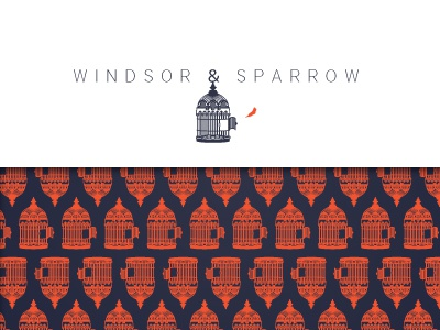 Windsor & Sparrow Identity Design brand identity logo cage bird pattern