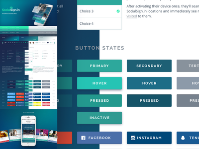 SocialSign.in WiFi Marketing Style Guide button states ui kit ux mobile product palette gradients elements form buttons ui style guide