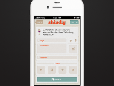 Shindig iOS App Drink Check In ui ux app checkin iphone interface ios design like dislike mobile process screen tags texture location social sharing check in