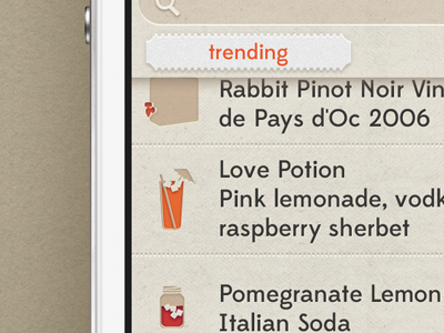 Shindig iOS App Trending Drink Recommendations ui ux app iphone interface ios design list icons drinks mobile checkin like dislike thumbs wine beer cocktail check in