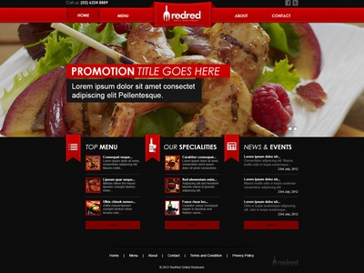 Website Template red restaurant layout custom menu wine food clean ui ux website