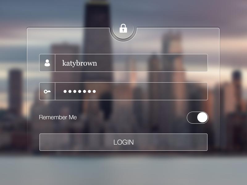 Login login username password switch key lock transparent ui ux ios ipad remember
