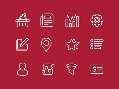 Vector Icon set for one of my project icons news basket illustration cool settings maps star favorite listing progress vector