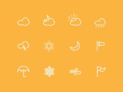 Vector Icon set part 6 icons clouds rain moon illustration wind snow flag umbrella season vector winter