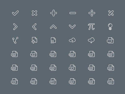 Line Icon Set Part 7 icons documents maths extension clouds upload download illustrations format arrows delete idea