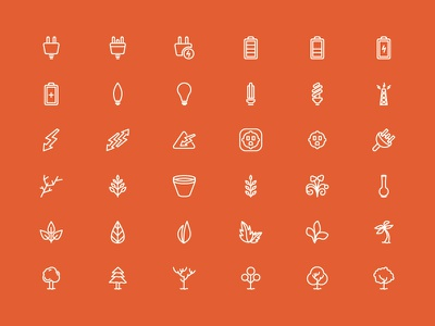 Lineiconset Last Part icon vector illustration electricity plants trees light gardening leafs plugin battery christmas