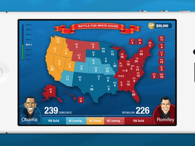 Game for iPhone iphone games progress bar week ticker strategy game battleground week app election banner ux application ui us map loading