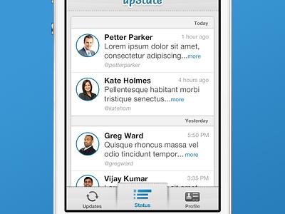 Upstate Mock iphone app tab bar custom tab bar double cell twitter application cell ios list ux ui status