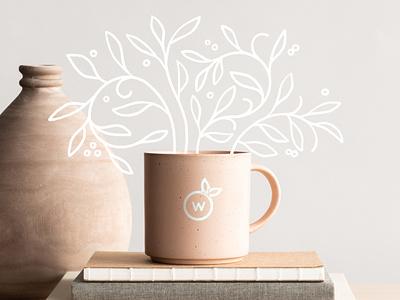 Wild Vine Mug Logo logo design organic logo freelance designer freelance illustrator branding nature design personal brand nature brands food brands brand redesign
