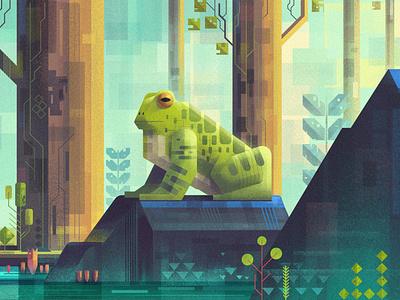 Frog of the jungle. Inspired by James Gilleard. photoshop drawing digitalartist artist illustration design art