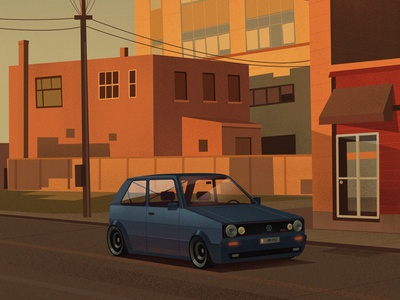 Volkswagen Golf Mk2 cars drawing photoshop digitalartist artist illustration design art