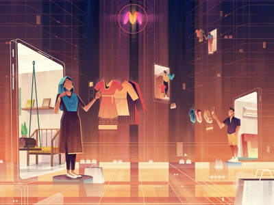 A story about Myntra's venture into mobile in India. editorial branding animation digitalartist photoshop artist illustration design art