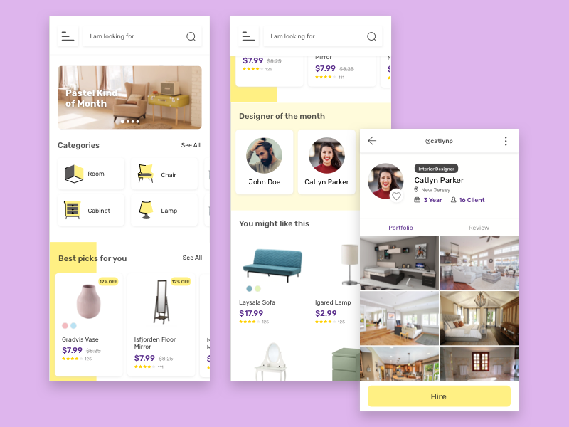 Interior Marketplace Exploration interior marketplace card home ux ui