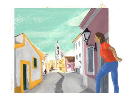 Hometown village street town color drawing digital handmade illustration