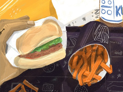 Burguer drawing color fries food vegan procreate illustration burguer