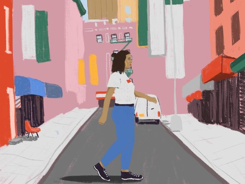 Walk - Work in progress street chinatown new york nyc walk design procreate drawing color handmade digital illustration
