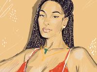 Jorja Smith singer jorjasmith face portrait procreate color digital illustration